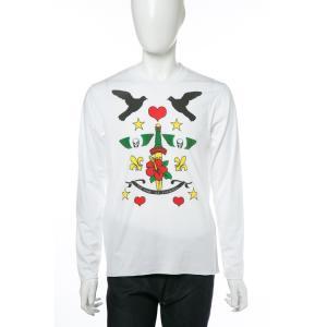 2017年秋冬新作 ルシアンペラフィネ lucien pellat-finet ロングTシャツ ロンT 長袖 丸首 メンズ EVH1974 ホワイト|viaspiga