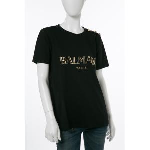 バルマン BALMAIN Tシャツ 半袖 丸首 レディース 108564 326I ブラック 2017年秋冬新作|viaspiga