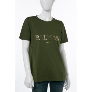 バルマン BALMAIN Tシャツ 半袖 丸首 レディース 108564 326I グリーン 2017年秋冬新作|viaspiga