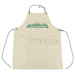 アンドワンダー and wander printed canvas apron オフホワイト プリンテッド キャンバス エプロン アウトドア 2017FW|vic2