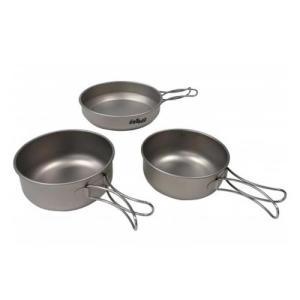 チタン製の食器3点セット   サイズ / 大:H60×137mm 650ml、小:H55×129mm...
