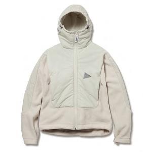 アンドワンダー and wander Womens twill fleece jacket off white ツイルフリースジャケット レディース 2017FW|vic2