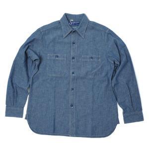 バンブーシュート BAMBOO SHOOTS Chambray Shirt Blue シャンブレー シャツ 長袖 ミリタリー 猫目ボタン|vic2