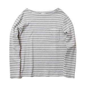 バンブーシュート BAMBOO SHOOTS Bask Border Shirt Grey/White 1011702|vic2