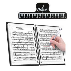 楽譜 ファイル 2ページ見開き 1冊+クリップ付 書込みOK 60ページ A4 大容量 リング式 バンド 180度 無地 黒