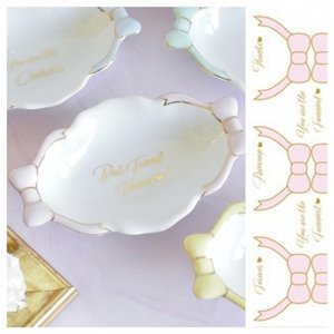 ポーセラーツ 転写紙 リボン ピンク ブルー プラチナ ゴールド デザイナーズ 1色 Farawell ribbon(1color×gold/platinum)|victoriadesign