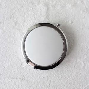 ポーセラーツ 白磁 鏡 コンパクトミラー (シルバー) 北欧風|victoriadesign