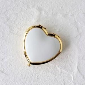 ポーセラーツ 白磁 鏡 ハート型コンパクトミラー (ゴールド) 北欧風|victoriadesign