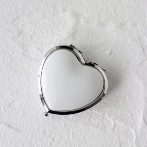 ポーセラーツ 白磁 鏡 ハート型コンパクトミラー (シルバー) 北欧風|victoriadesign