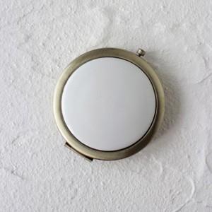 ポーセラーツ 白磁 鏡 コンパクトミラー (アンティークゴールド) 北欧風|victoriadesign