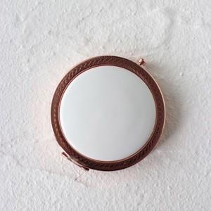ポーセラーツ 白磁 鏡 模様入りコンパクトミラー (ピンクゴールド) 北欧風|victoriadesign