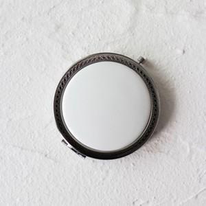ポーセラーツ 白磁 鏡 模様入りコンパクトミラー (シルバー) 北欧風|victoriadesign