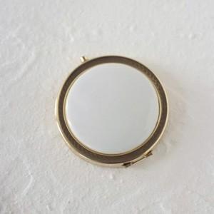 ポーセラーツ 白磁 鏡 模様入りコンパクトミラー (ゴールド) 北欧風|victoriadesign