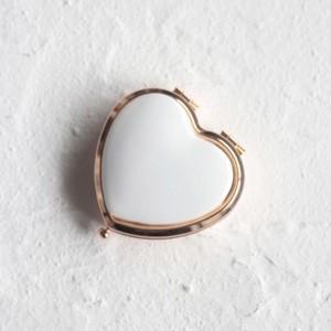 ポーセラーツ 白磁 鏡 ハート型コンパクトミラー (ピンクゴールド) 北欧風|victoriadesign