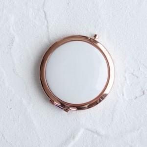 ポーセラーツ 白磁 鏡 コンパクトミラー (ピンクゴールド) 北欧風|victoriadesign
