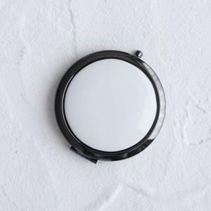 ポーセラーツ 白磁 鏡 コンパクトミラー (ブラック) 北欧風|victoriadesign