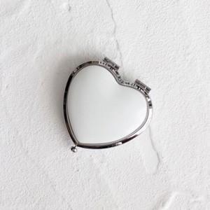 ポーセラーツ 白磁 雑貨 ハート型コンパクトケース (シルバー) 北欧風|victoriadesign