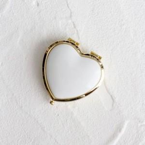 ポーセラーツ 白磁 雑貨 ハート型コンパクトケース (ゴールド) 北欧風|victoriadesign