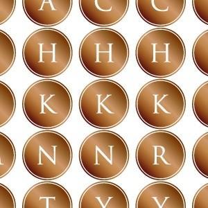 ポーセラーツ 転写紙 文字 ALPHABET MARK CIRCLE (アルファベットマーク サークル・ブライトゴールド)|victoriadesign