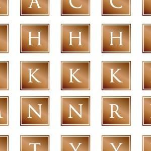 ポーセラーツ 転写紙 文字 ALPHABET MARK SQUARE (アルファベットマーク スクエア・ブライトゴールド)|victoriadesign