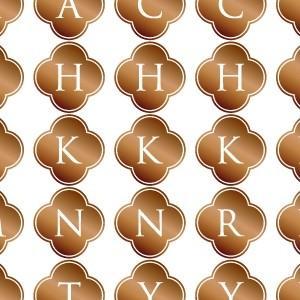 ポーセラーツ 転写紙 文字 ALPHABET MARK CLOVER (アルファベットマーク クローバー・ブライトゴールド)|victoriadesign