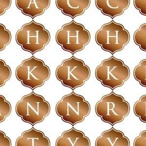 ポーセラーツ 転写紙 文字 ALPHABET MARK MOROCCAN (アルファベットマーク モロッカン・ブライトゴールド)|victoriadesign