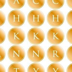 ポーセラーツ 転写紙 文字 ALPHABET MARK CIRCLE (アルファベットマーク サークル・メタリックゴールド)|victoriadesign