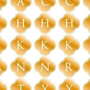 ポーセラーツ 転写紙 文字 ALPHABET MARK CLOVER (アルファベットマーク クローバー・メタリックゴールド)|victoriadesign