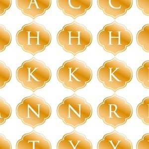 ポーセラーツ 転写紙 文字 ALPHABET MARK MOROCCAN (アルファベットマーク モロッカン・メタリックゴールド)|victoriadesign