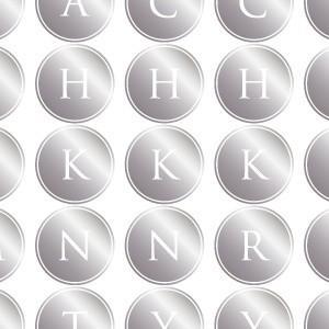 ポーセラーツ 転写紙 文字 ALPHABET MARK CIRCLE (アルファベットマーク サークル・メタリックシルバー)|victoriadesign