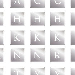 ポーセラーツ 転写紙 文字 ALPHABET MARK SQUARE (アルファベットマーク スクエア・メタリックシルバー)|victoriadesign