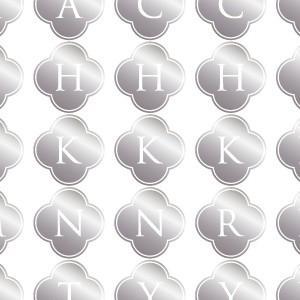 ポーセラーツ 転写紙 文字 ALPHABET MARK CLOVER (アルファベットマーク クローバー・メタリックシルバー)|victoriadesign