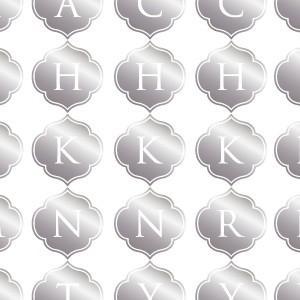 ポーセラーツ 転写紙 文字 ALPHABET MARK MOROCCAN (アルファベットマーク モロッカン・メタリックシルバー)|victoriadesign