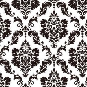 ポーセラーツ 転写紙 模様 DAMASK (M) (ダマスク・ブラック)|victoriadesign