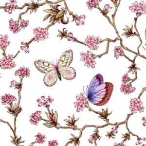 ポーセラーツ 転写紙 花柄 バタフライ - ORIENTAL FLOWER (オリエンタル フラワー)|victoriadesign