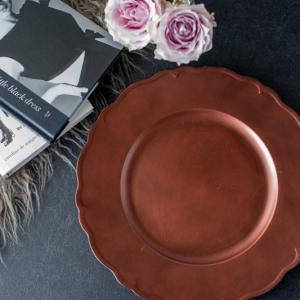 アンダープレート チャージャープレート 皿 フリル・ブロンズ 洋食器 アンティーク調 おしゃれ カフェ|victoriadesign
