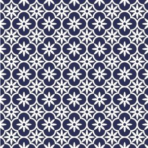 ポーセラーツ 転写紙 模様 - FLOWER MOROCCAN (フラワーモロッカン・ネイビー)|victoriadesign