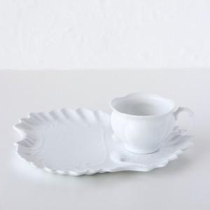ポーセラーツ 白磁 食器 - フェザー (カップ&ソーサー)|victoriadesign