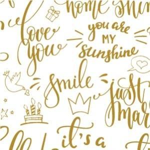 ポーセラーツ 転写紙 メッセージ - CALLIGRAPHY (カリグラフィー・メタリックゴールド) victoriadesign