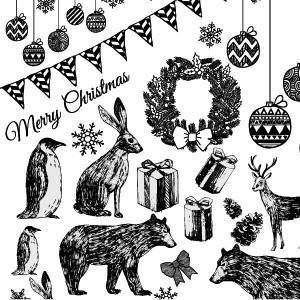 ポーセラーツ 転写紙 シーズン CHRISTMAS PARTY (クリスマスパーティー・ブラック)|victoriadesign