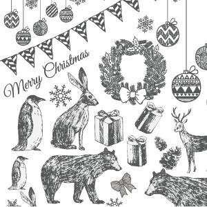 ポーセラーツ 転写紙 シーズン CHRISTMAS PARTY (クリスマスパーティー・ダークグレー)|victoriadesign