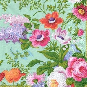 ペーパーナプキン デコパージュ 花柄 FLORALIA GREEN L おしゃれ 10枚セット|victoriadesign