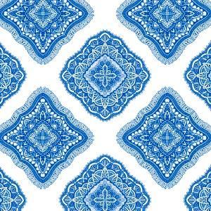 ポーセラーツ 転写紙 模様 ETHNIC FABRIC (エスニックファブリック・ブルー)|victoriadesign