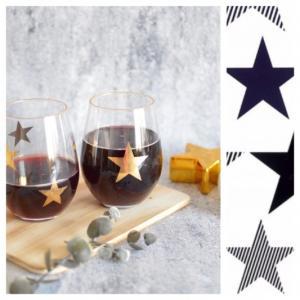 ポーセラーツ 転写紙 デザイナーズ ガラス用スター (ブライトゴールド)|victoriadesign
