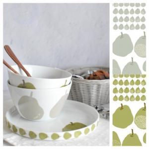 ポーセラーツ 転写紙 デザイナーズ European pear(カーキ)|victoriadesign