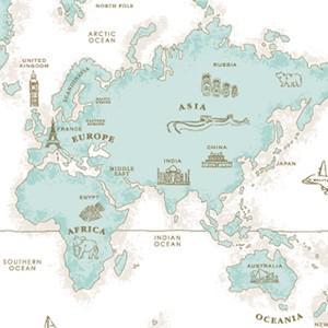 ポーセラーツ 転写紙 模様 WORLD MAP(ワールドマップ・ティファニー)