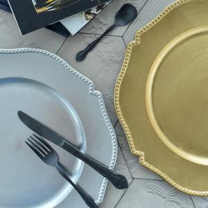 アンダープレート チャージャープレート 皿 ゴールド シルバー 洋食器 アンティーク調 おしゃれ カフェ|victoriadesign