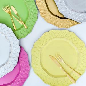 アンダープレート 皿 チャージャープレート チェック・ゴールド シルバー ホワイト グリーン イエロー ローズピンク 洋食器 アンティーク調 おしゃれ カフェ|victoriadesign