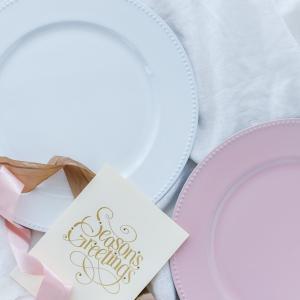洋食器 アンダープレート チャージャープレート 皿 アンティーク調 ドット・ピンク ホワイト おしゃれ カフェ|victoriadesign