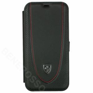 フェラーリ iPhone12 Pro Max レザー ブックタイプケース Off Track Perforated ブラック FEOGOFLBKP12LBK|victorylap